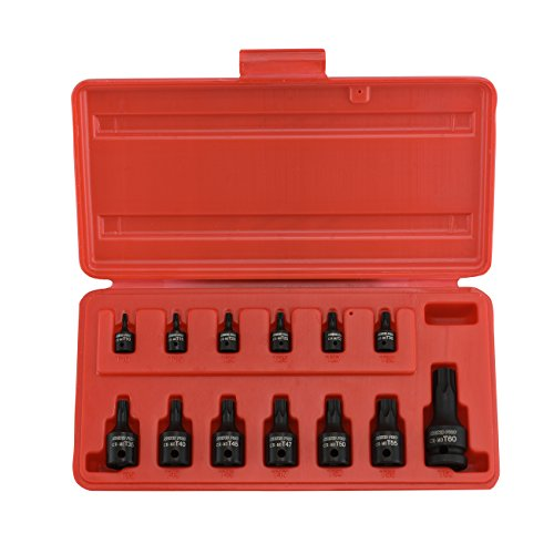 Neiko 10282B Security Torx Impact Socket Kit, 13 Piece | 1/4