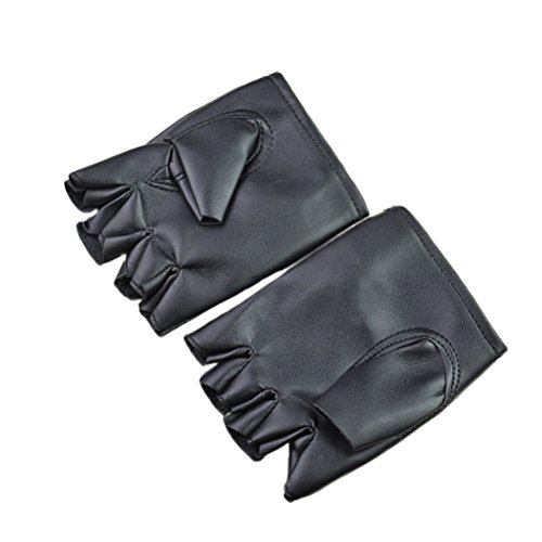 Amosfun Men Punk Style Gloves Half-finger Gloves Windproof Gloves for Performance Halloween Costumes (Performance Windproof Gloves)