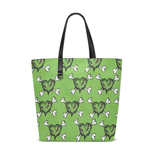 (Ainans Zombie Heart Tattoo Black Tote Bag Purse Handbag for Women Girls)