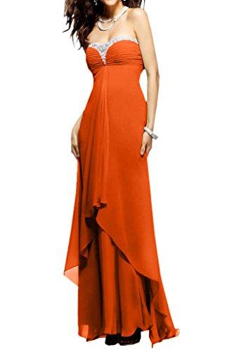 Festkleid Lang Ballkleid Abendkleider Herzform Chiffon Steine Reizvoll Promkleid Damen Rueckenfrei Orange Ivydressing 0wqTax8OO