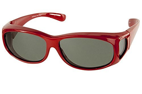 LensCovers Sunglasses Wear Over Prescription Glasses Extra Small Red Polarized