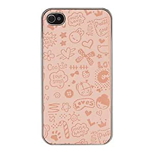 Solid Color Cute Cartoon World Pattern Electroplated Hard Case for iPhone 4/4S (Assorted Colors) --- COLOR:Red
