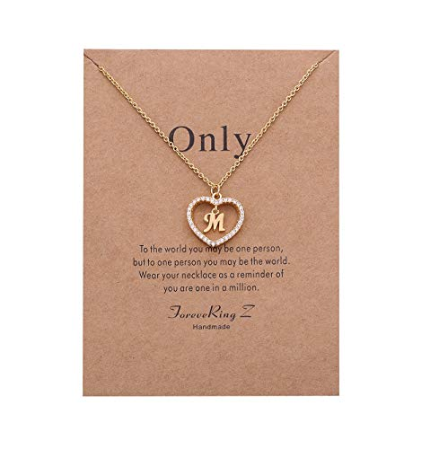 (ForeveRing Z Letter Pendant Necklace A-Z Initial Necklace M Necklace with Message Card M Charm Necklace Woman)