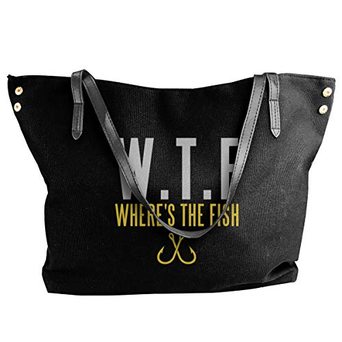 WTF Where's The Fish Tote Bags Canvas Shoulder Handbag Satchel Purse Bag Women