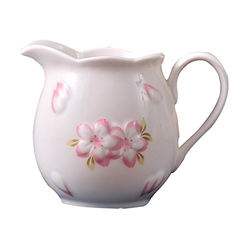 (Vintage Ceramic Cherry Blossoms Coffee Milk Creamer Jug Porcelain Floral Coffee Milk Creamer Pitcher/Sauce Pitcher/Milk Syrup Server with Handle for Kitchen Home Decor Gift(White,Pink))
