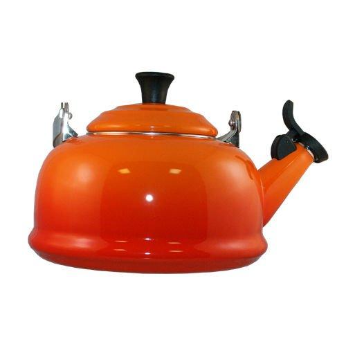 Le Creuset Whistling Tea Kettle Flame Orange Teapot Enameled