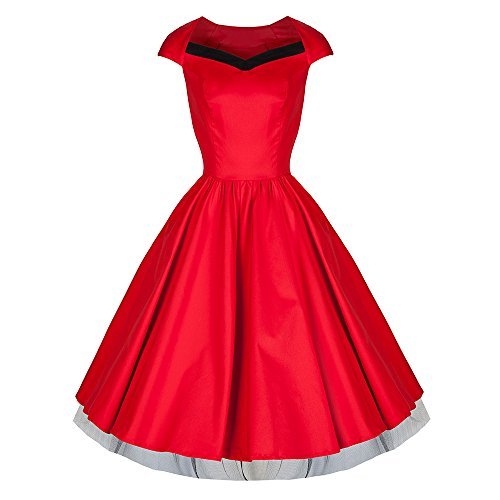 Pretty Kitty Fashion - 50s Mode Rouge Noir V décolleté Robe