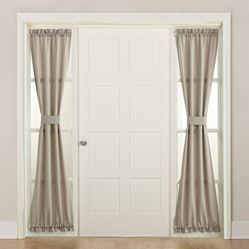Sun Zero Barrow Front Door Sidelight Curtain Panel with Tie Back, Stone Grey, 26 x 72 (Front Door Curtain Panel)