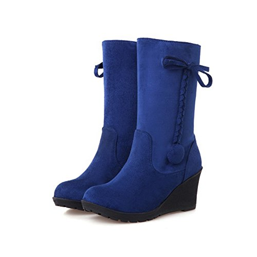 AllhqFashion Mujeres Sólido Tacón Medio Puntera Redonda Gamuza(Imitado) Sin cordones Botas Azul