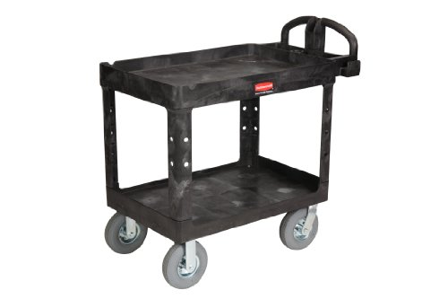 Rubbermaid-Commercial-Heavy-Duty-Service-Cart-with-Lipped-Shelves-and-Pneumatic-Casters-Medium-FG452010BLA