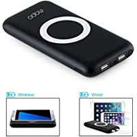 5V 2A fast Input&Output Wireless Charger Power Bank, MOPO 12000mAh Portable power bank Charger QI Wireless Charging Pad for For iPhone ,Samsung and More with 2 USB Outputs (Black)
