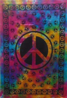 Heyrumbh Handicrafts Y Peace Sign Psychedelic Hippie Boho Bohemian Tapestry - Printed Cotton Wall Hanging Window Decoration Poster(Multi Color, 40 X 30 Inches) (Peace Sign Tapestries)