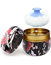 Powder Case with Powder Puff, Large Capacity Body Powder Container, Multifunctional Box for Baby After-Bath Care, Premium Stitched Cotton Rounds