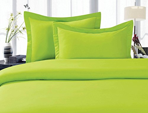Elegant Comfort 1500 Thread Count Wrinkle Resistant Ultra Soft Luxurious Egyptian Quality 3-Piece Duvet Cover Set 100% Hypoallergenic, Solid, Full/Queen, Lime