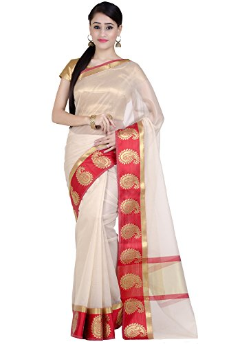 India Sarees Silk (Chandrakala Women's Red Supernet Cotton Banarasi Saree(1276RED))