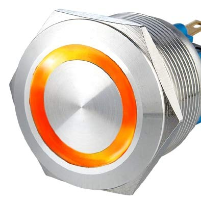 22mm Ring Illuminated fixation anti vandal switch,Self Locking Vandal Resistant Electrical Light Switch - (Color: Orange, Voltage: 12V, Size: momentary)