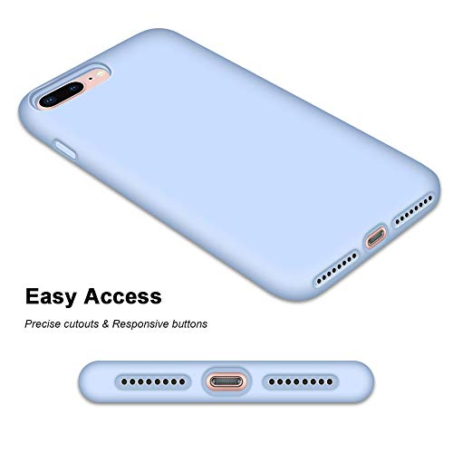 "Anuck iPhone 8 Plus Case, iPhone 7 Plus Case, Soft Silicone Gel Rubber Bumper Case Microfiber Lining Hard Shell Shockproof Full-Body Protective Case Cover for iPhone 7 Plus /8 Plus 5.5"" - Light Blue"