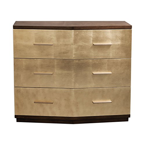 Stunning Brushed Gold Leaf Accent Chest | Metallic Mid Century Modern ()