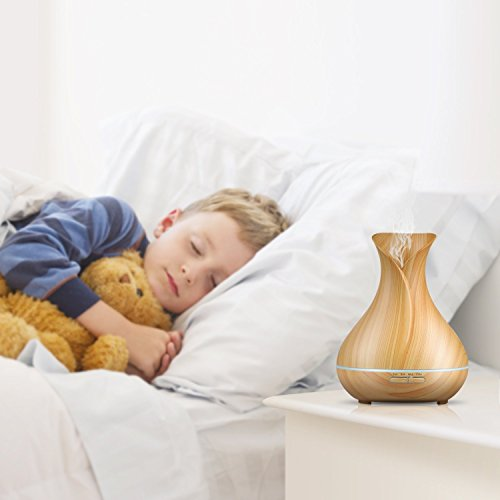 Aromazon Diffuser & Humidifier Wood Grain Ultrasonic Aromatherapy Essential Oil Air Purifier (400ml)