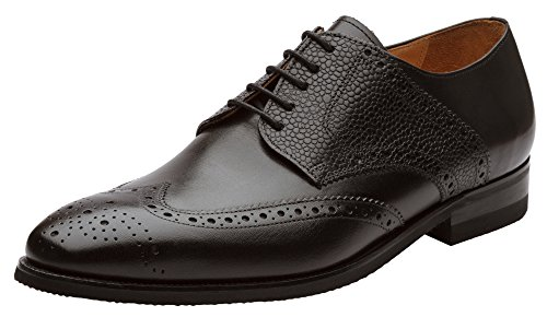 Dapper Shoes Co.. Handcrafted Genuine Leather Men's Classic Wingtip Brogue Oxford Leather Lined Perforated Dress Oxfords Shoes US 9-9.5 (Full Brogue)