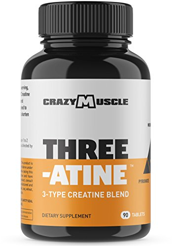Creatine Pills - 90 Tablets with 5g of Creatine Monohydrate, Pyruvate + AKG) by Crazy Muscle - Optimum Strength - Only 3 Easy to Swallow Pills per serving