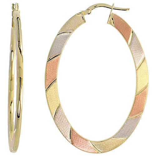 Diagonal Hoop (10k Tri Color Gold Flat Hoop Earrings Oval Shape Diagonal Rose White Yellow Stripes Italy 2 inch)