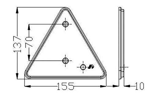 Lot de 4 AMA Catadioptre Triangulaire Rouge avec Trous de Fixation