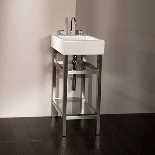 Free-standing console stand made of brushed stainless steel for lavatory 5072, with one clear tempered glass shelf and towel bars, 14 1/4