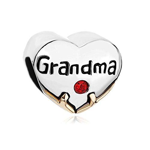LovelyJewelry Grandma Family Charm Heart Floral Beads For Bracelet (Grandma 2) (Special Heart Grandma Charm)