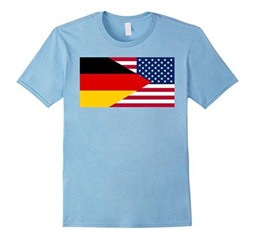 Mens German American Half Germany Half America Flag T-Shirt Medium Baby Blue