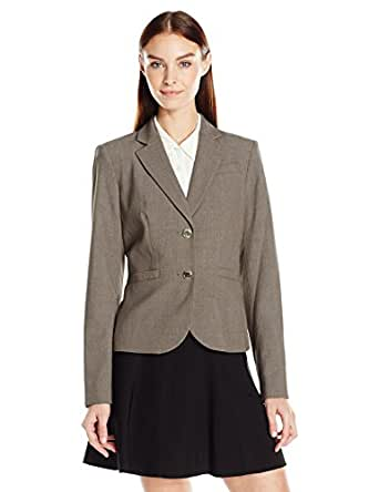 Calvin Klein Women's 2 Button Jacket in Lux, Heather Taupe, 2