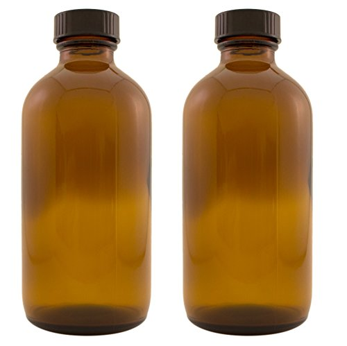 Greenhealth - 8 Oz Amber Glass Bottle with Phenolic Lid (Pack of 2)