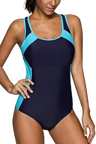 Swimsuit Womens Racing (CharmLeaks Womans Athletic one Piece Bathing Suit Chlorine Resistant Swimwear Workout Swimsuits,Navy/Aqua,X-Large)
