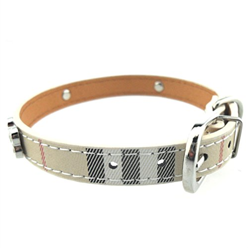 Pet Fashion Collar Bling Rhinestone with Bone Charm Dog Collar Adjustable Leather Plaid Cat Dog Neck Strap Sweet Necklace Suitable for Small Medium Dogs Cats Puppy Come with a Pet ID Tag S Beige (Bling Bone Charms)