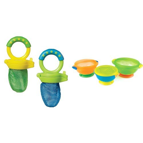 Munchkin Fresh Food Feeder, Colors May Vary, 2 Count and Stay Put Suction Bowl, 3 Count