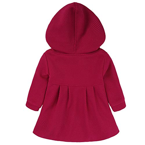 EGELEXY Baby Girl's Hooded Wool Cotton Trench Coat Outwear 12-18months Rose by EGELEXY (Image #3)