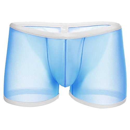 OBEEII Men's Mesh Sheer Boxer Briefs Sexy Breathable Hipster Bulge Panties Lingerie Underwear Blue XL (Sexy Hipster Boxers For Men)