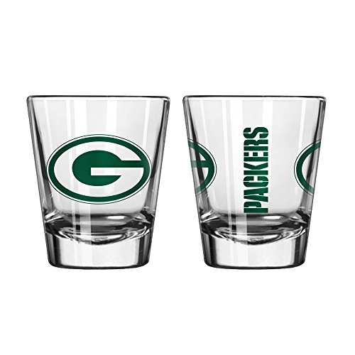 - Official Fan Shop Authentic NFL Logo 2 oz Shot Glasses 2-Pack Bundle. Show Team Pride at home, your Bar or at the Tailgate. Gameday Shot Glasses for a goodnight (Green Bay Packers)