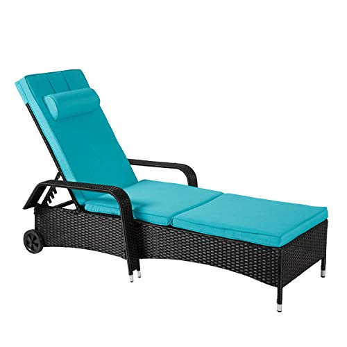 Cheap Kinbor All-Weather Wicker Patio Recliner Chair Relaxing Lounge Chair Chaise Lounge Adjustable Backrest (Blue-Lounge Chair with Wheels)