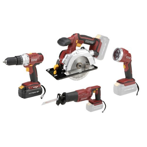 18 Volt Cordless 4 Tool Combo Pack: Drill/driver, Circular Saw with Laser Guide, Reciprocating Saw, Super Bright LED Work Light with 9-led Pivoting Head - NEW (Electric Sawzall Kit)