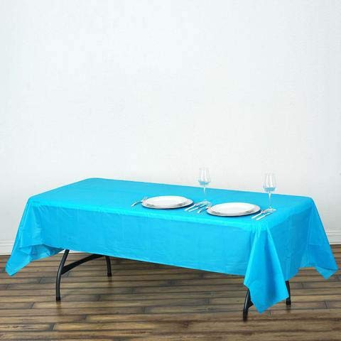 Plastic Tablecloth 54in. x 108in. Rectangle Table Cover Perfect for Parties, Graduations or Family Gatherings - A Marvelus Product for Any Occasion (Aqua Blue)