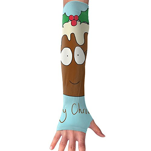 Sports Arm Sleeves Christmas Pudding With Smiling Face Unisex Sun Block UV Protection Warmer Cooler Band Protective Hands Arm Cover