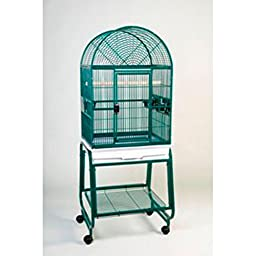 HQ\'s Opening Dome Cage, Small Parrot Cage With Cart Stand, 1 Per Box, 22x17x55\