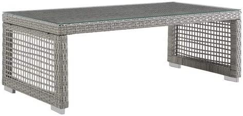 Modway Aura Wicker Rattan Outdoor Patio Tempered Glass Coffee Table in Gray