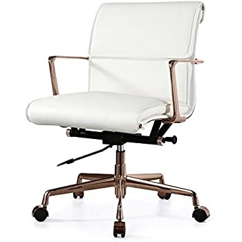 MEELANO M347 Italian Leather Office Chair, Rose Gold/White