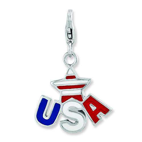 Logo Heart 10k Charm - Sterling Silver Fancy Lobster Closure Enameled Star Usa Logo With Lobster Clasp Charm