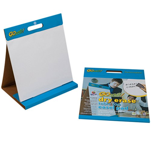 Erase Tabletop Dry Easel Pad - GoWrite Dry Erase Tabletop Non-Adhesive Easel Pad with Carrying Handle, 16 x 15 Inches, White, 10 Sheets
