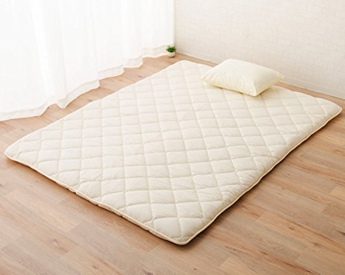 EMOOR Japanese Traditional Futon Mattress Classe with 100% Cotton Fitted Sheet (White), Queen Size (63 x 79in)
