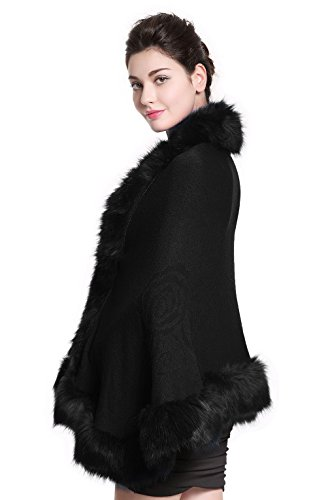 Faux Fur Shawl Wrap Stole Shrug Bridal Winter Wedding with Hook,Black,One Size]()