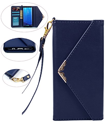 Galaxy S8 Case, Galaxy S8 Wallet Case, Crosspace S8 Envelope Flip Handbag Shell Slim PU Leather Women Wallet Magnetic Folio Cover with Card Holder Wrist Strap for Samsung Galaxy S8 5.8 (2017)-Blue